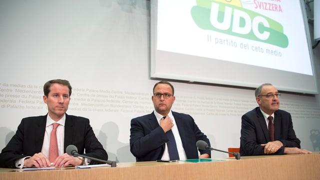 Ils trais candidats da la PPS: Thomas Aeschi, Norman Gobbi e Guy Parmelin