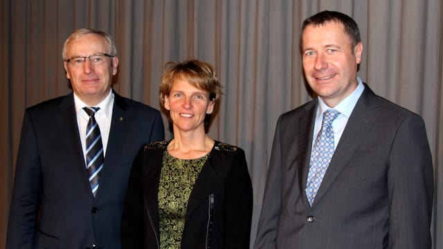 Alois Bissig (amtierender Regierungsrat), Karin Kayser (Gemeindepräsidentin Oberdorf) & Othmar Filliger (CVP-Präsident).