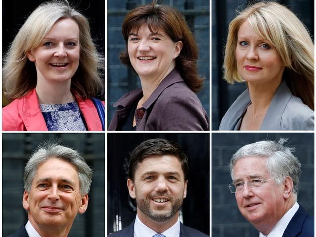 Liz Truss (Umwelt), Nicky Morgan (Bildung), Esther McVey (Arbeit), Philip Hammond (Äusseres), Stephen Crabb (Wales), Michael Fallon (Verteidigung)