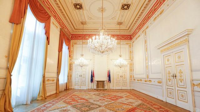 Leerer Saal in Wien, hier fand der Wiener Kongress statt.