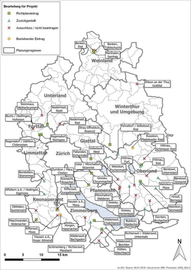 Eine Karte, auf der alle Zonen für Bodenaufwertungen eingetragen sind.