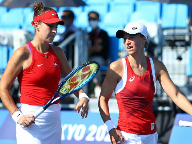Belinda Bencic und Viktorija Golubic bei ihrem gemeinsamen Auftritt im Doppel.