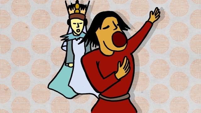 Die Zeichnung zeigt zwei singende Figuren aus der Oper.