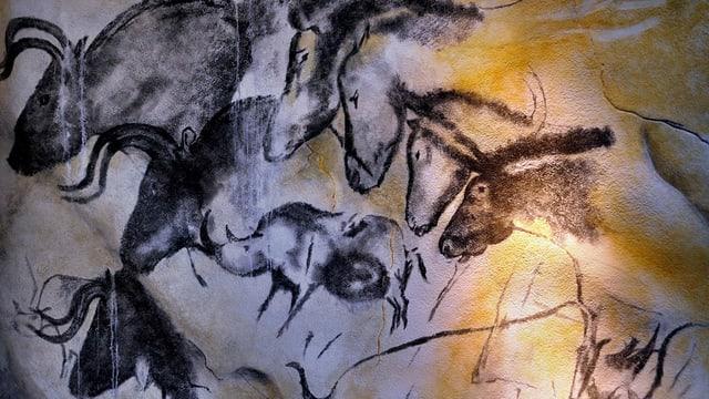 Höhlenmalerei mit detailliert gezeichneten Tieren.