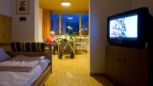 Zimmer in einem Altersheim.