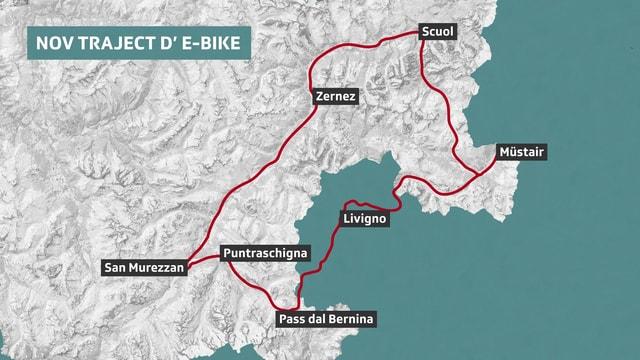 Il traject da la nova purschida per e-bikes en la regiun dal Parc naziunal svizzer.