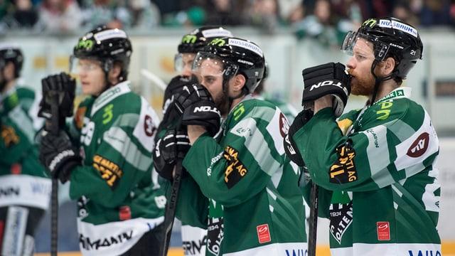 Eishockeyspieler in grün-weissen Trikots.