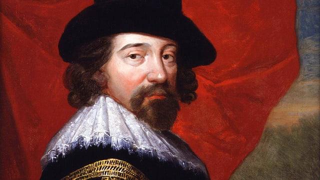 Francis Bacon mit Hut auf einem Porträt.