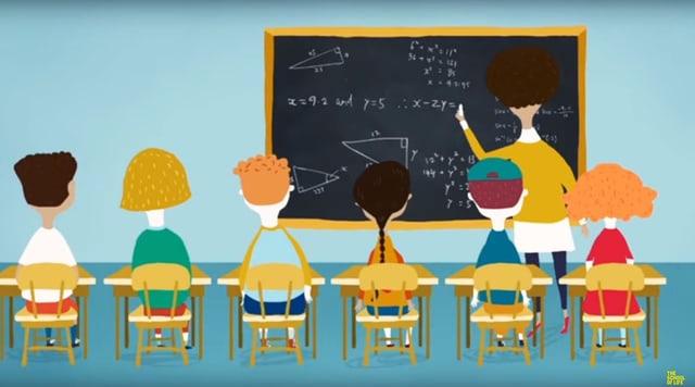 Eine Illustration: Sechs Kinder schauen auf dei Wandtafel, wo eine Lehrerin was schreibt.