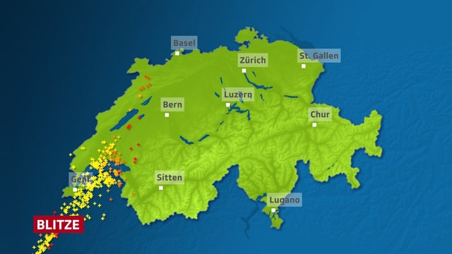 Im Genferseegebiet sind auf der Schweizkarte als farbige Kreuze Blitzeinschläg dargestellt.