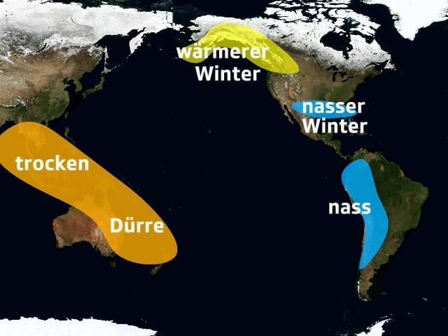 Karte des Pazifiks, links Australien, orange eingefärbt. Rechts Südamerika mit Peru, blau eingefärbt.
