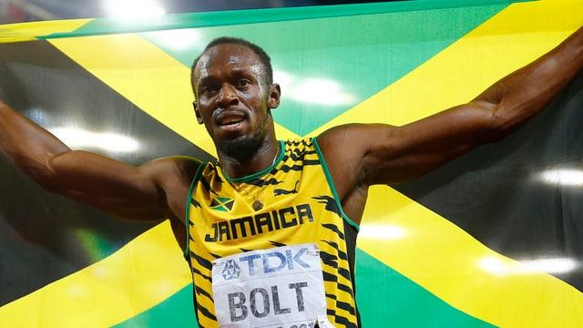 Bolt mit Jamaica Flagge