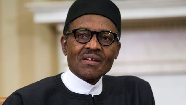 Porträt des neuen nigerianischen Präsidenten Buhari.