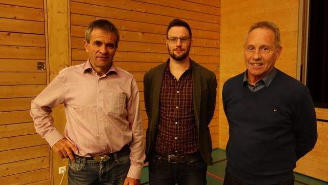 Da san.: Peter Nicolay, president communal Bravuogn, Luzi Schutz, nov president Bravuogn Filisur, Felix Schutz, president Filisur.