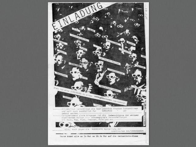 «Einladung» zu einer Demonstration am 30. Mai 1980 in Zürich