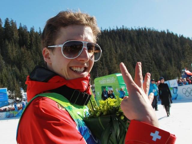 Simon Ammann an den Spielen 2010 in Vancouver.