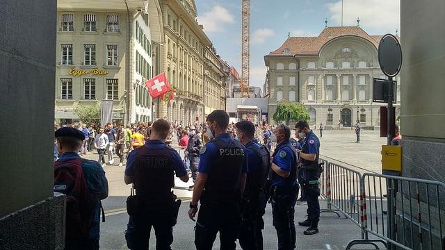Polizei auf dem Bundesplatz präsent