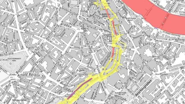 Gefahrenkarte des Kantons, Ausschnitt mit dem Birsigparkplatz, bis hin zurm Rhein. Rote Gebiete finden sich im Abschnitt zwischen Birsigparkplatz bis hin zur Schifflände.