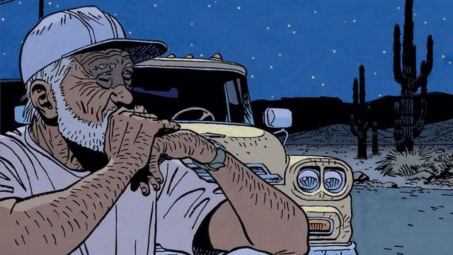 Comic: Ein Mann sitzt neben einem Auto.