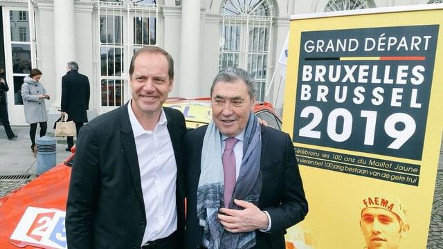 Tour-Direktor Christian Prudhomme (l.) und Rad-Legende Eddy Merckx.