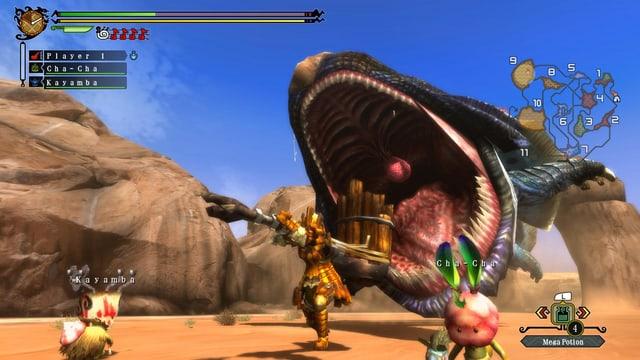 Ein riesiger Sandwurm reisst sein Maul auf; die Gefährten wenden sich wohlweislich ab.