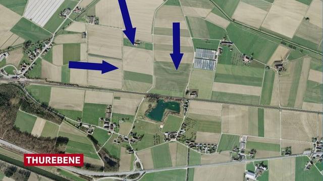 Luftbild der Thurebene mit feinen Strukturen.
