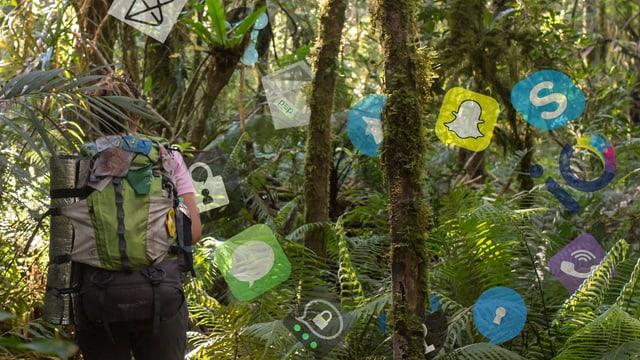 Eine Frau ist im Dschungel, umschwirrt von Icons