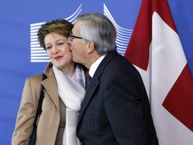 «Herzlicher» Empfang für die damalige Bundespräsidentin Simonetta Sommaruga in Brüssel (2015).