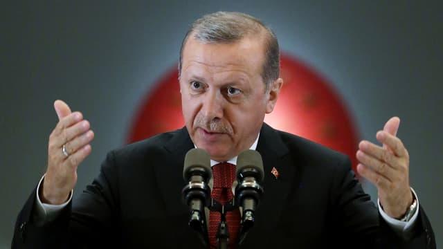 Erdogans vor den Medien im Präsidentenpalast in Ankara.