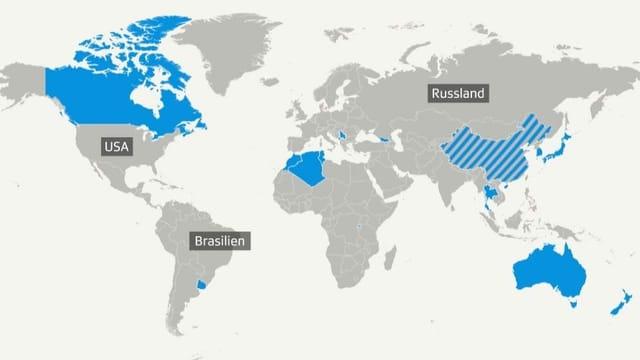 Karte der Länder, aus denen man ab heute wieder in die EU einreisen darf.