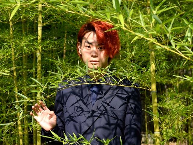 «Tomogui»-Darsteller Masaki Suda posiert in Locarno für Fotografen, und wird teilweise von Ästen verdeckt.