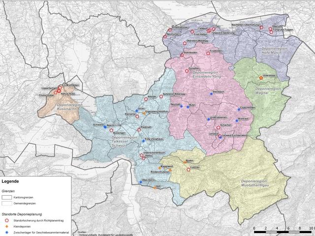 Eine Karte des Kantons Schwyz mit verschiedenen markierten Standorten.