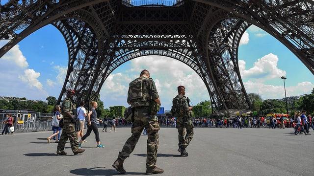Soldaten auf Patrouille unter dem Eifelturm