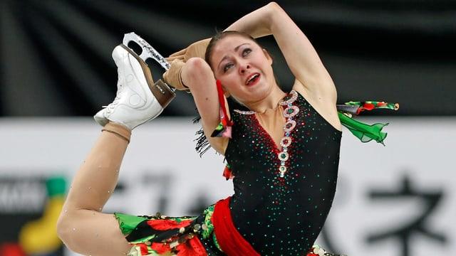 Anna Ovcharova während ihrem Kurzprogramm an der WM in Japan.