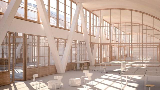 Visualisierung der Schul- und Aufenthaltsräume im Obergeschoss des geplanten Schulhauses Freilager in der Stadt Zürich.