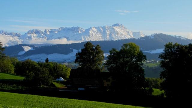 Blick auf den Säntis im Alpsteinmassiv.