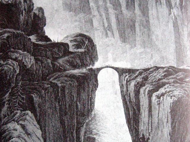 Die mystische Schöllenenschlucht, gezeichnet um 1780.