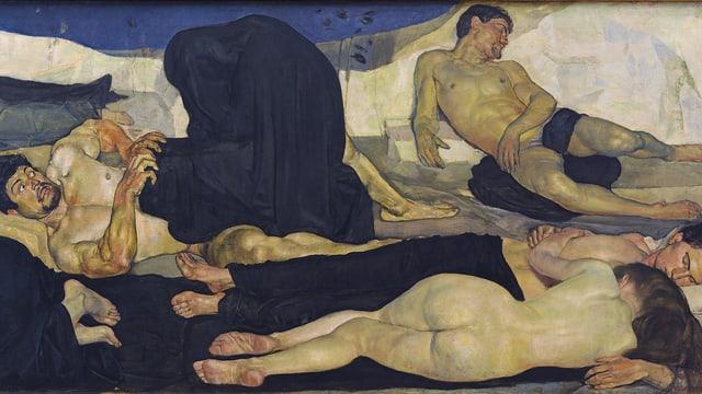 """Die Ausschnitt aus Ferdinand Hodlers Bild """"Die Nacht"""" zeigt ein schlafendes Paar, einen schlummernden Mann und einen erschreckt aufwanden Mann, der von einer schwarz vermummten Gestalt bedrängt wird."""