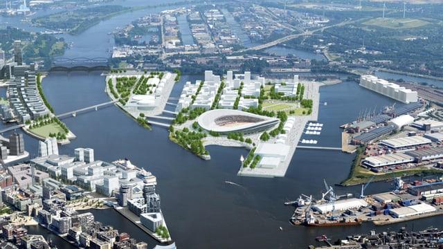 Bildmontage aus der Vogelperspektive von Hamburg mit den olympischen Bauten.