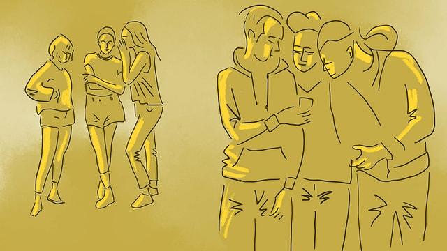 eine Illustration einer Gruppe von Jungs, die sich ein Handy herumreichen und Mädchen, die im Hintergrund darüber flüstern
