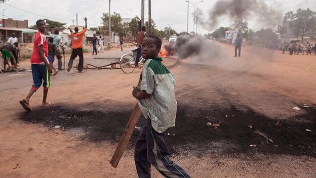 Demonstranten gegen den Putsch in Burkina Faso.