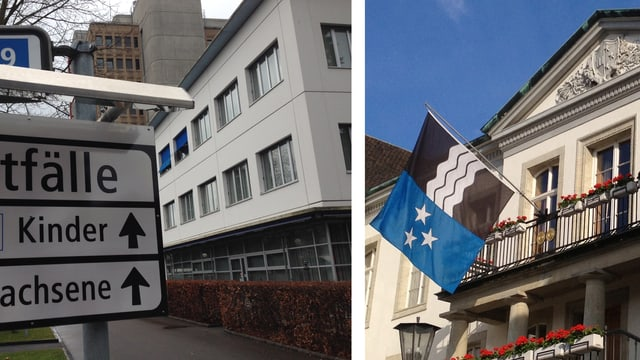 Eingang Kantonsspital Aarau und Regierungsgebäude Aarau