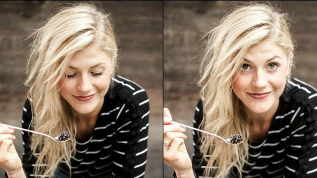 Zwei Porträts von der blonden Nadja Damaso