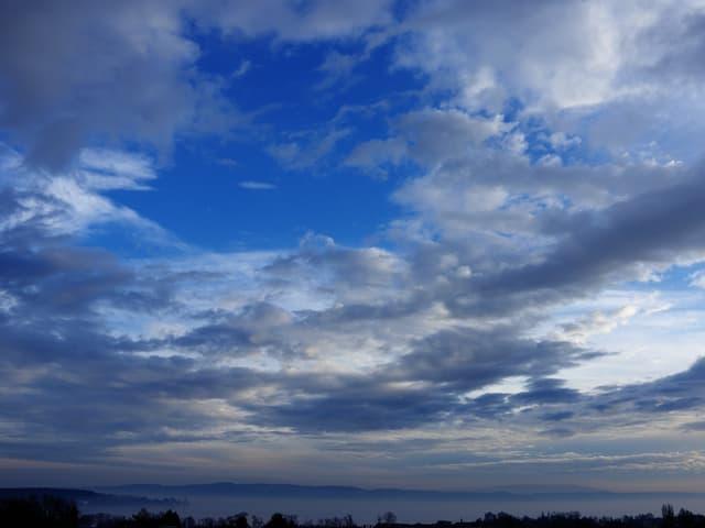Blauer Himmel mit einigen Wolken, unten der Bodensee ganz knapp ersichtlich