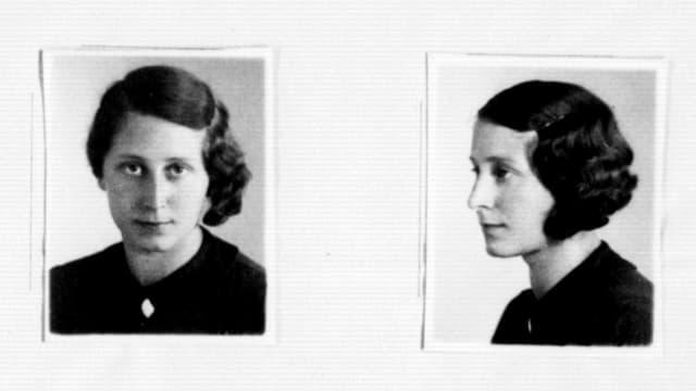 Zwei Porträtfotos einer Frau, einmal frontal, einmal von der Seite.