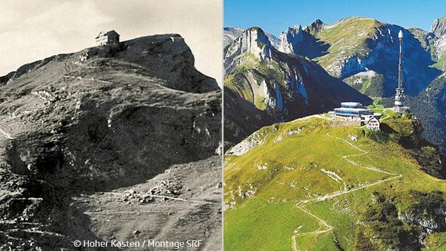 links altes Fotos mit altem Restaurant, rechts Hoher Kaste mit neuem Drehrestaurant