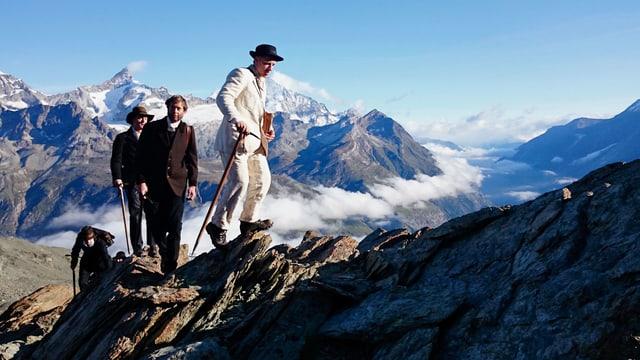 «Tatort Matterhorn»: Craig Fletcher als Edward Whymper, Michael Lauber als Reverend Charles Hudson, Michael Biner als Douglas Hadow.