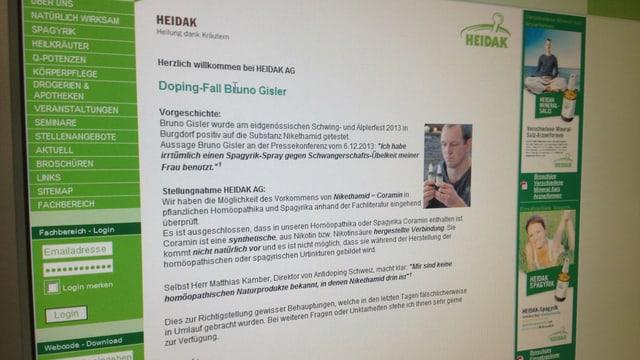 Blick auf die Website der Firma Heidak - sie nimmt zum Fall Gisler Stellung.