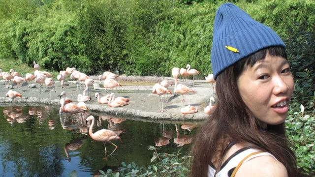 Japanische Künstlerin mit Flamingos im Zoo
