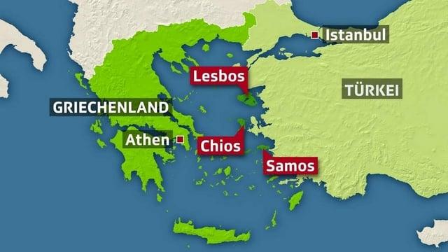Karte der Ägäis